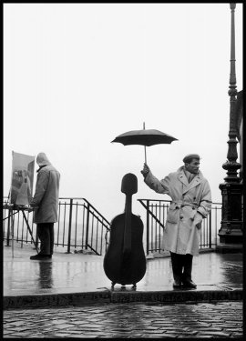 Musician Under The Rain Poster