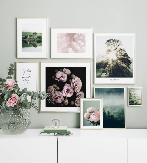 Picture wall nature motifs flowers