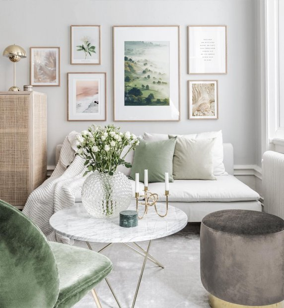 Beautiful and elegant gallery wall with small and big frames with typography and nature posters