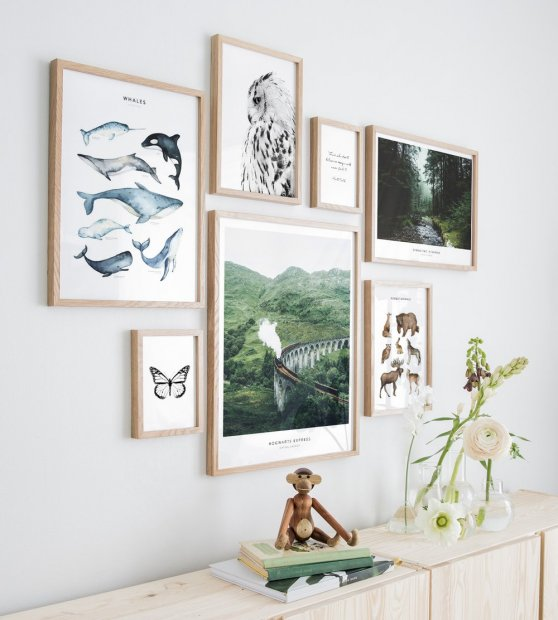 Gallery wall animals nature oak frames