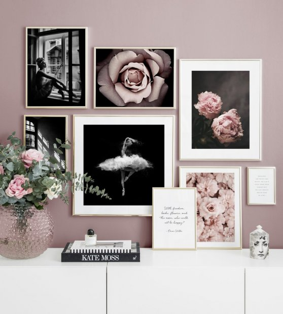 Gallery wall black and white photo art pink flowers
