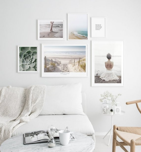Gallery wall inspired by sandy beaches sea