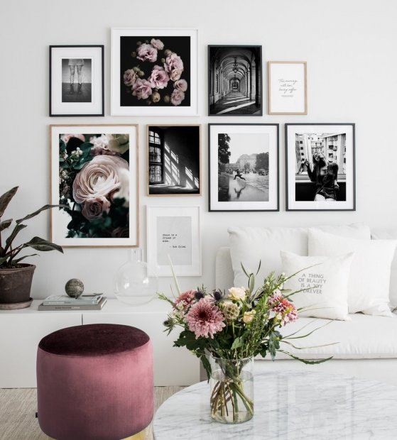 Gallery wall black frames white frames oak frames