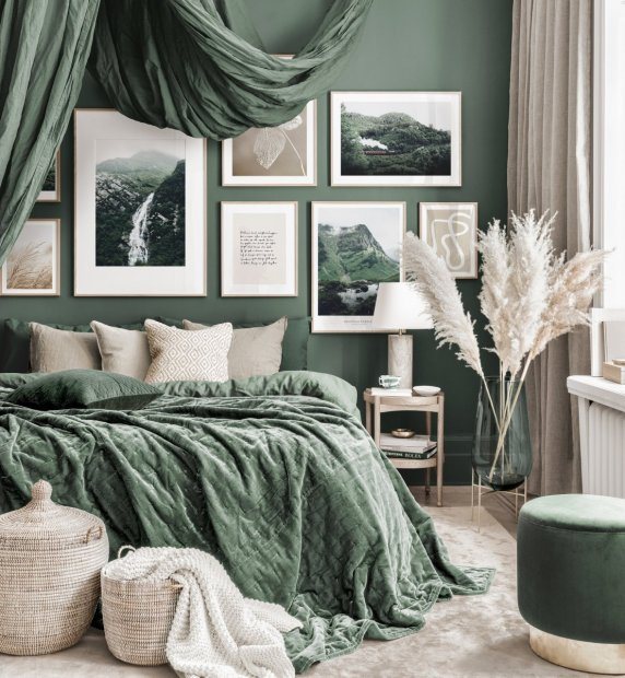 Stunning art gallery wall green bedroom nature posters oak frames