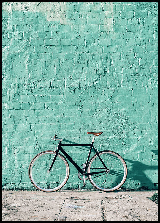 Mint Wall Bike Affiche